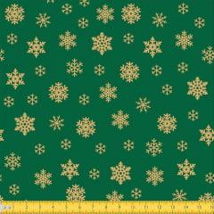 Tecido Tricoline Natal Flocos de Neve - Verde - 100% Algodão - Largura: 1,50m