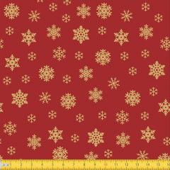Tecido Tricoline Natal Flocos de Neve - Vermelho - 100% Algodão - Largura: 1,50m