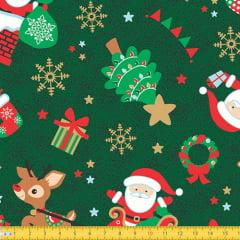 Tecido Tricoline Natal Noite Mágica - Verde - 100% Algodão - Largura 1,50m