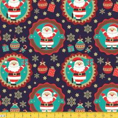 Tecido Tricoline Natal Papai Noel e Guirlandas - Azul - 100% Algodão - Largura 1,50m