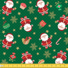 Tecido Tricoline Natal Papai Noel e Poás - Verde - 100% Algodão - Largura 1,50m