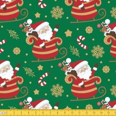 Tecido Tricoline Natal Papai Noel no Trenó - Verde - 100% Algodão - Largura: 1,50m