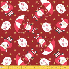 Tecido Tricoline Natal Papai Noel Paraquedista - Vermelho - 100% Algodão - Largura: 1,50m