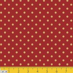 Tecido Tricoline Natal Poá Fundo Vermelho c/ Dourado - 100% Algodão - Largura 1,50m