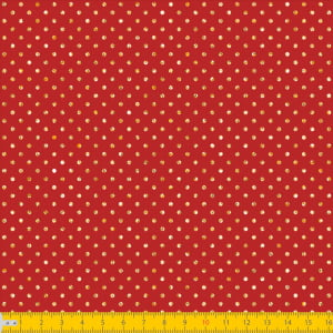 Tecido Tricoline Natal - Poá Vermelho c/ Dourado - 100% Algodão - Largura: 1,50m