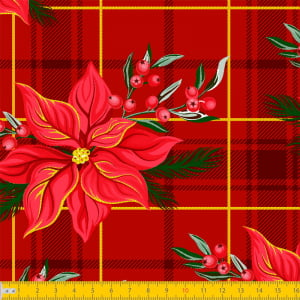 Tecido Tricoline Natal - Xadrez Floral - Vermelho - 100% Algodão - Largura: 1,50m