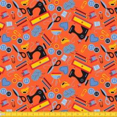Tecido Tricoline Nossa Costura - Laranja - 100% Algodão - Largura: 1,50m