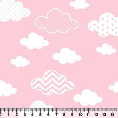 Tecido Tricoline Nuvens Baby Rosa - 100% Algodão - Largura 1,50m