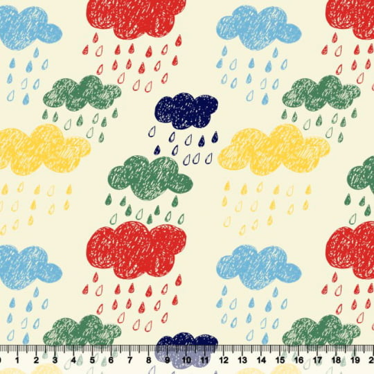Tecido Tricoline Nuvens Chuvinha Colorida - 100% Algodão - Largura: 1,50m