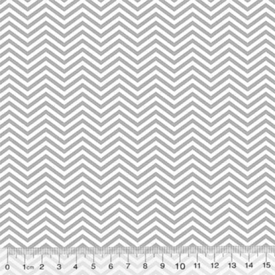 Tecido Tricoline Pan Mini Chevron Slim - Cinza - 100% Algodão - Largura 1,50m