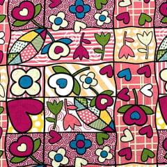 Tecido Tricoline Patchwork Romero - Rosa - 100% Algodão - Largura 1,50m
