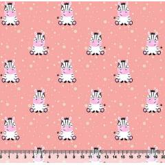 Tecido Tricoline Pequena Zebra - Fundo Coral - 100% Algodão - Largura 1,50m