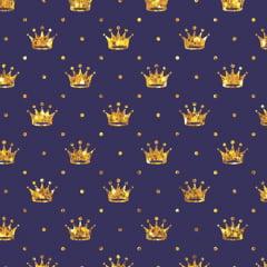 Tecido Tricoline Pequenas Coroas e Poás - Azul Marinho c/ Dourado - 100% Algodão - Largura 1,50m