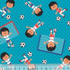 Tecido Tricoline Pequeno Jogador de Futebol - Azul - 100% Algodão - Largura 1,50m