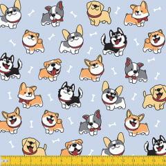 Tecido Tricoline Pequenos Dogs e Ossinhos - Azul - 100% Algodão - Largura: 1,50m