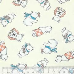 Tecido Tricoline Pequenos Ursos Polares - Fundo Marfim - 100% Algodão - Largura 1,50m