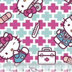 Tecido Tricoline Personagens F. Maluhy - Hello Kitty Enfermeira - 100% Algodão - Largura 1,50m