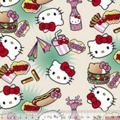 Tecido Tricoline Personagens F. Maluhy - Hello Kitty Hot Dog - 100% Algodão - Largura 1,50m