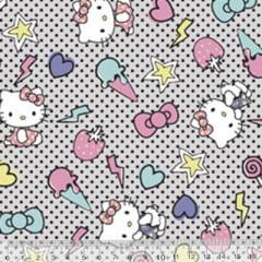 Tecido Tricoline Personagens F. Maluhy - Hello Kitty Sorvete - 100% Algodão - Largura 1,50m