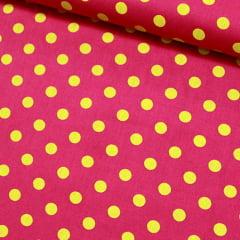 Tecido Tricoline Poá G - Fundo Rosa Pink c/ Amarelo - 100% Algodão - Largura 1,50m