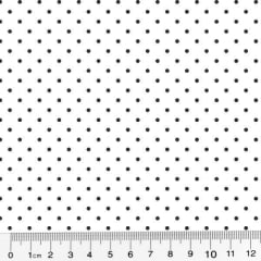 Tecido Tricoline Poá M - Fundo Branco c/ Preto - 100% Algodão - Largura 1,50m