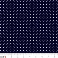 Tecido Tricoline Poá Micro - Fundo Azul Marinho c/ Branco - 100% Algodão - Largura 1,50m