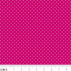 Tecido Tricoline Poá Micro - Fundo Rosa Pink c/ Branco - 100% Algodão - Largura 1,50m
