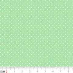 Tecido Tricoline Poá Micro - Fundo Verde Claro c/ Branco - 100% Algodão - Largura 1,50m