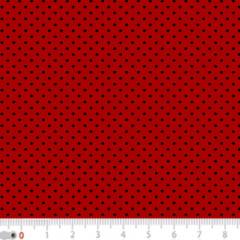 Tecido Tricoline Poá Micro - Fundo Vermelho c/ Preto - 100% Algodão - Largura 1,50m