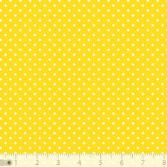 Tecido Tricoline Poá P - Fundo Amarelo c/ Branco - 100% Algodão - Largura 1,50m