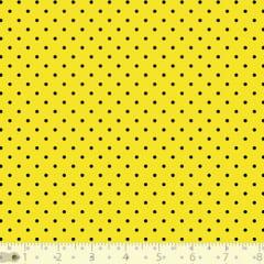 Tecido Tricoline Poá P - Fundo Amarelo c/ Preto - 100% Algodão - Largura 1,50m