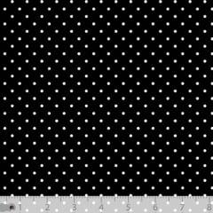 Tecido Tricoline Poá P - Fundo Preto c/ Branco - 100% Algodão - Largura 1,50m