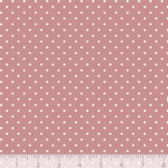 Tecido Tricoline Poá P - Fundo Rosa Antigo c/ Marfim - 100% Algodão - Largura 1,50m