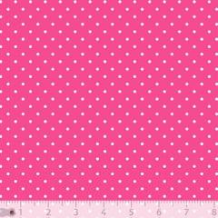 Tecido Tricoline Poá P - Fundo Rosa Pink c/ Branco - 100% Algodão - Largura 1,50m