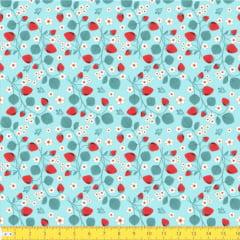 Tecido Tricoline Ramos e Morangos - Azul Claro - 100% Algodão - Largura: 1,50m