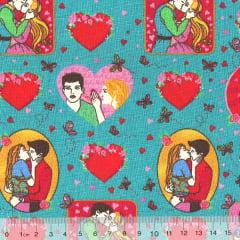 Tecido Tricoline Romance - Fundo Turquesa - 100% Algodão - Largura 1,50m
