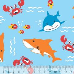 Tecido Tricoline Shark Baby - Fundo Azul