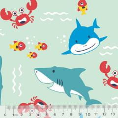 Tecido Tricoline Shark Baby - Fundo Verde Claro