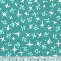 Tecido Tricoline Shine Star - Turquesa - 100% Algodão - Largura 1,50m