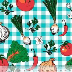 Tecido Tricoline Verduras - Xadrez Azul - 100% Algodão - Largura 1,50m