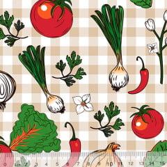 Tecido Tricoline Verduras - Xadrez Bege - 100% Algodão - Largura 1,50m