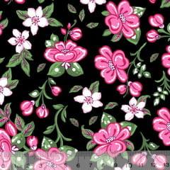 Tecido Tricoline Alg. Floral Libelly - Preto - 100% Algodão - Largura 1,45m