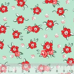 Tecido Tricoline Alg. Floral - Lucy - Fundo Verde - 100% Algodão - Largura 1,45m