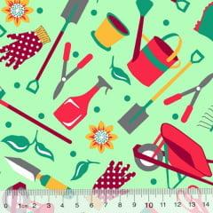Tecido Tricoline Alg. Jardinagem - Fundo Verde - 100% Algodão - Largura 1,45m