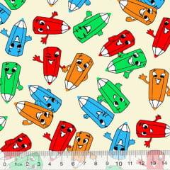 Tecido Tricoline Alg. Pequenos Lápis Coloridos - Fundo Bege - 100% Algodão - Largura 1,45m