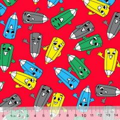 Tecido Tricoline Alg. Pequenos Lápis Coloridos - Fundo Vermelho - 100% Algodão - Largura 1,45m
