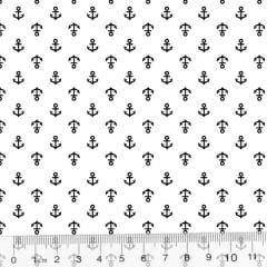 Tecido Tricoline Âncoras Mini - Fundo Branco - 100% Algodão - Largura 1,50m