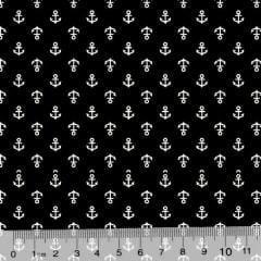 Tecido Tricoline Âncoras Mini - Fundo Preto - 100% Algodão - Largura 1,50m