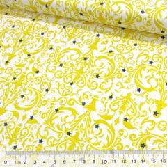 Tecido Tricoline Arabesco e Estrelas - Amarelo