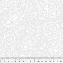 Tecido Tricoline Branco & Branco - Kashmir - 100% Algodão - Largura 1,50m